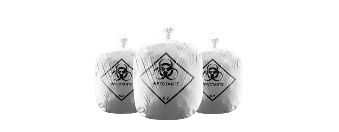Os resíduos tóxicos requerem sacos de lixo hospitalar específicos para a coleta do lixo.